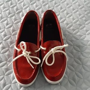 Cole Haan Red Patent Nantucket Camp MOC Boat Shoes